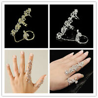 Style Ring Multiple Finger Stack Knuckle Band Crystal Set Womens Fashion Jewelry