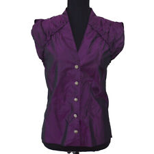 CHANEL 08A #38 CC Button Sleeveless Tops Purple 100% Silk Authentic 02359