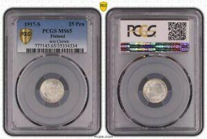 1917 s Finland Russia 25 Pennia PCGS MS65 w/o crown double eagle silver gem