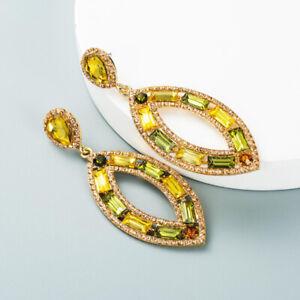 Womens Gorgeous Multicolor Crystal Tassels Earrings Ear Stud Dangle Drop Jewelry