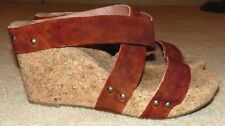 Nice Women's Size 10 Lucky Brand Maldaz Brown Leather Suede Cork Wedge Sandals