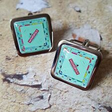 Unique! MONOPOLY CUFFLINKS chrome LONDON hotels MONEY fab BOARD GAME property