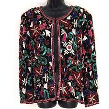 d4ff5cd7b1d Niteline embellished Jacket L sequin beaded silk black red gold cocktail