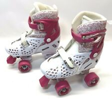 Roller Derby Girls Trac Star Adjustable Roller Skate White Pink Large 3-6 EUC