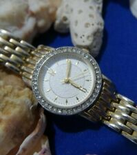 WHITE RHINESTONE GOLD tone WASHED watch new battery