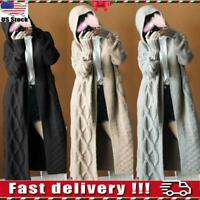 Womens Chunky Cable Knit Hooded Cardigan Jumper Ladies Long Sleeve Coat Sweater