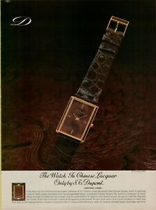 1982 S.T. Dupont Chinese Lacquer Watch Brown Gold Paris  Vintage Print Ad