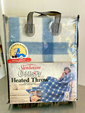 "New Condition Vintage Sunbean Heated Throw Blanket 50""x60"" Blue. Made in USA"