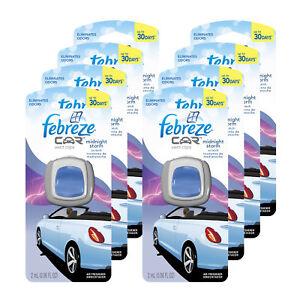 Febreze Car Vent Clips Air Freshener & Odor Eliminator, Midnight Storm - 8 Pack