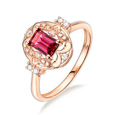 14K Rose SOLID GOLD FILIGREE NATURAL TOURMALINE BRILLIANT DIAMOND WEDDING RING