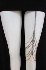 New Women Thigh Mesh Silver Pewter Gold Metal Leg Chain Fashion Body Jewelry