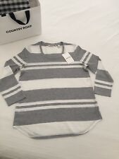 COUNTRY ROAD Chic Striped Knit Tee Top White & Grey M $69.95