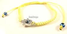 Hamsa Yellow Silver Bracelet Evil Eye Charm Kabbalah Hand Of Fatima Amulet New
