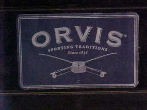 """ORVIS SPORTING GOODS METAL LOGO DECAL STICKER 3"""" x 2"""" FLY FISHING TACKLE ROD"""