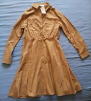 Amichi Women's Brown Button Up Fit Flare Shirt Dress Size L Large New With Tags