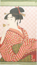 Noren Japanese Curtain a lady playing with a glass toy motif Utamaro Japan