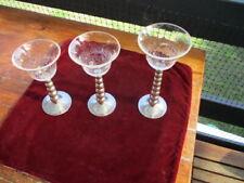 Set three graduated crackle glass tea light candle holders metal pedestal stands
