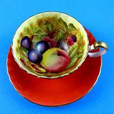 Fruit Center with Deep Orange Exterior Aynsley Tea Cup and Saucer Set
