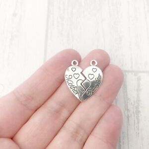 15 x Mother Daughter Charms Sets Joblot Bulk Wholesale Connecting Heart Pendants