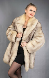406 GLAMOROUS REAL BLUE FOX FUR COAT LUXURY FUR JACKET BEAUTIFUL LOOK SIZE M