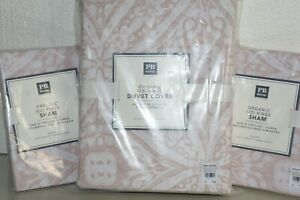 NEW Pottery Barn 3 PC SET IZZI RING Duvet FULL QUEEN + 2 EURO Shams Blush Pink