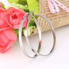 20-60mm Stainless Steel Round Flat Ring Hook Stud Earrings Women Jewelry