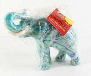 """New Handmade Swaziland Fair Trade SWAZI """" Elephant """" African Psychedelic Candle"""