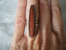 Red Tigers Eye cocktail ring, size L/M, 20 carats, 5.6 grams 925 Sterling Silver