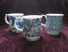 Queen's  China ANTIQUE LACE & BLUE STORY Mugs - Set of 3 - FREE U.S.SHIP