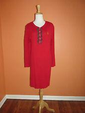 New Ralph Lauren Womens Size M Red Knit Ruffle Trim Nightshirt Nightgown Pajamas