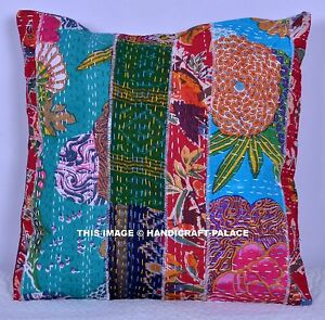"Kantha Patchwork Cushion Cover Indian Cotton Pillow Case Home Decor Sofa 16"""