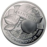 CANADA CANADIAN 1 $ DOLAR DOLLAR PLATA SILVER ARGENT PROOF 1996 MANZANA MCINTOSH