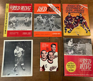 Lot Of Detroit Red Wings Game Program Magazine 1960-1970 Gordie Howe Autograph