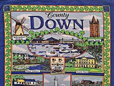 UNITED KINGDOM-VINTAGE COUNTY DOWN LANDMARKS LINEN BLEND KITCHEN TEA TOWEL