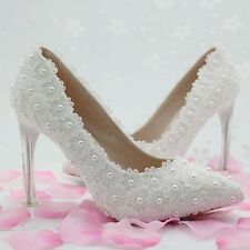 Women's White Lace Stiletto Pointed Toe High Heels Wedding Handmade Shoes