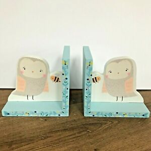 Woodland Friends Owl and Bee Sass & Belle Pair of Wooden Bookends - New in Box