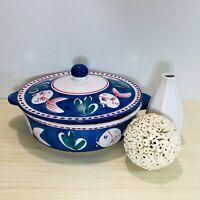 Solimene Vietri Covered Casserole Dish Blue Fish Nautical Hand Painted Italy