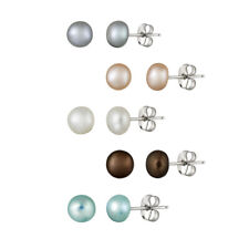 Stainless Steel 5-6mm Freshwater Multi Colored Pearl Stud Earrings, Set of 5