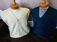 2 New NWT Pringle L  Yellow and Green Cardigan Sweater Vests