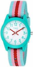 Timex TW7C09800, Kid's Pink/Teal Striped Nylon Strap Watch, TW7C098009J
