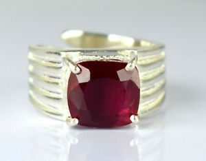 Certified Cushion Burma Ruby 925 Silver Ring 5.53 Ct Natural Ideal Gift Item
