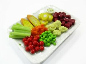 Dollhouse Miniatures Food Mixed Grilled Vegetables Green Salad Plate 1:6 15845