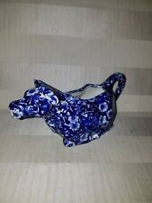 Royal Crownford Staffordshire Calico Ironstone Blue Cow Creamer-Made in England