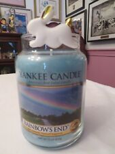 "Yankee Candle ""Rainbow'S End"" Large Jar Easter Candle & Ceramic Bunny Charm Nwt"
