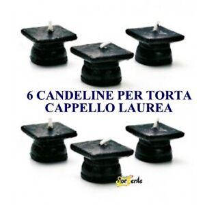 CANDELINE TORTA CAPPELLO LAUREA CONF. DA 6 PEZZI FESTA PARTY DECORAZIONI