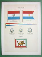 PARAGUAY Naval Flags Pennants & Persia Ensign - 1899 Color Litho Print