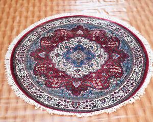 Red Geometric Serapi Heriz Traditional 4x4 Rug Oriental Round Rug Silk Carpet
