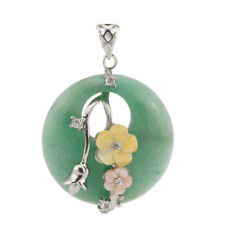 Hanmade Green Agate Flower Carved Shell Gemstone Solid Silver Necklace Pendants