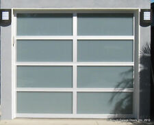 Full View Anodized [12' x 7'] Aluminum & White Laminate Glass Garage Door