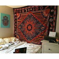 Celestial Moon Stars Mandala Bohemian Hippie Trippy Psychedelic Cotton Bedspread